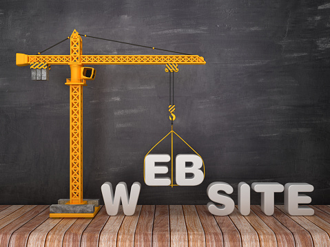 Tower Crane with WEBSITE Word on Chalkboard Background - 3D Rendering