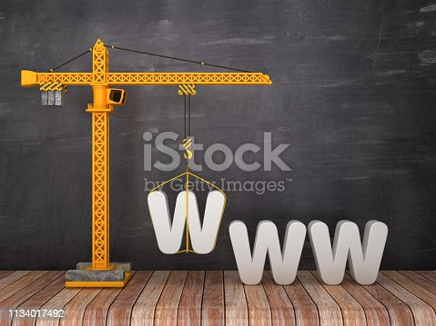 Tower Crane with WWW on Chalkboard Background - 3D Rendering
