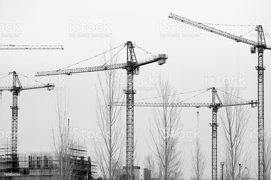 Tower Cranes at a construction site stock photo