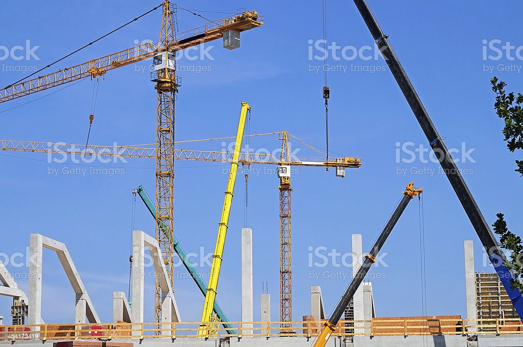tower cranes at the construction royalty-free stock photo