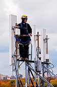 istock Tower crew leader working with the cellular antennas 639607432