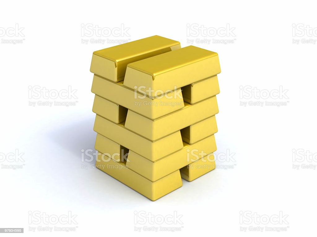 3D tower from gold bullions royalty-free stock photo