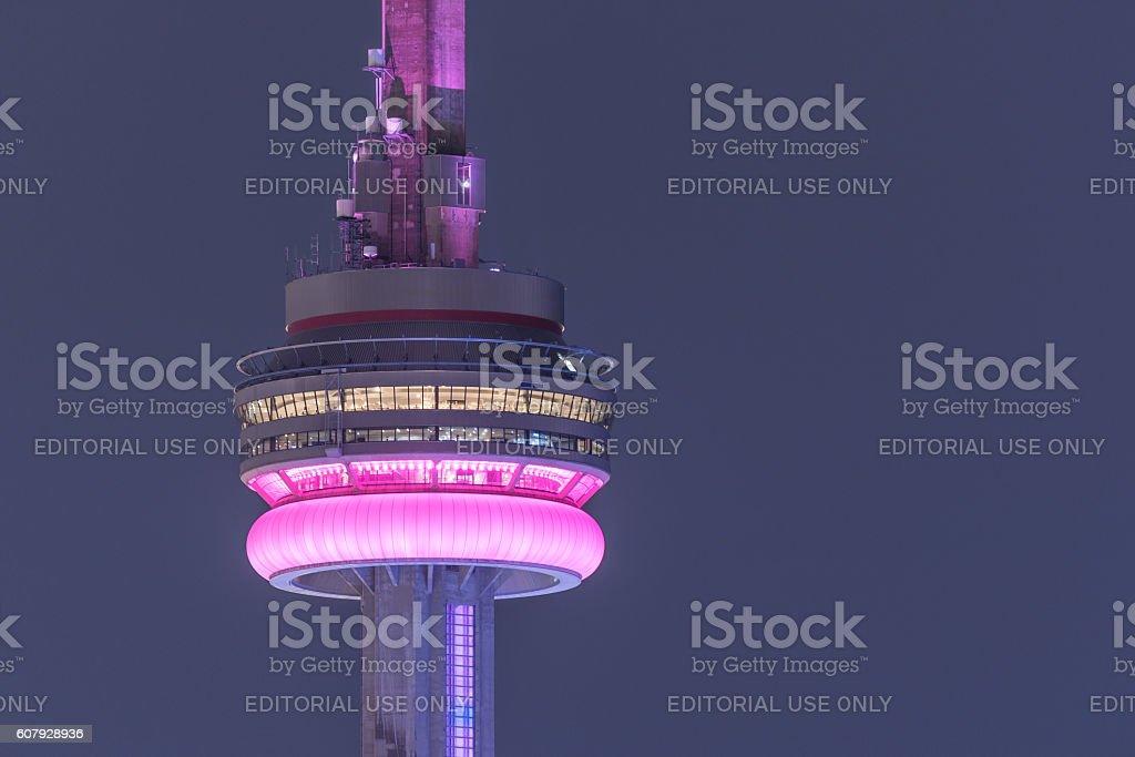CN Tower glows on warm summer night. stock photo