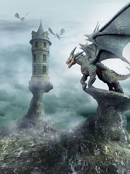 Tower guarded by dragons stock photo