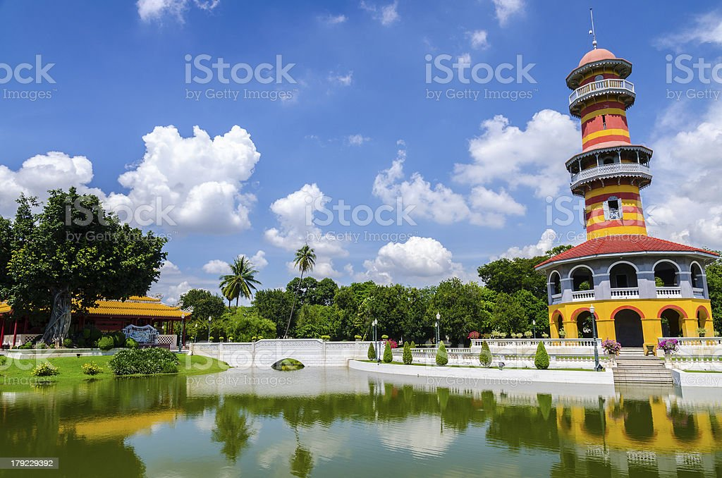 Tower in Bang Pa-In Palace, Ayuthaya, Thailand stock photo
