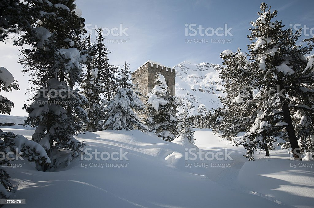 Tower in Maloja stock photo