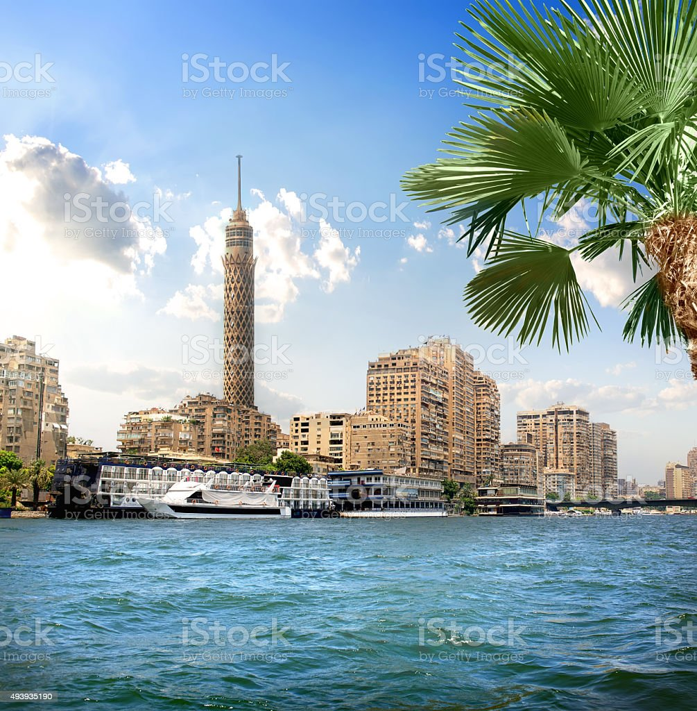 TV tower near Nile stock photo