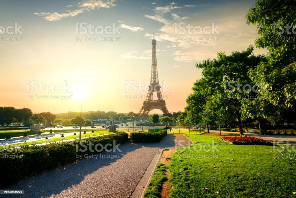 Tower near park in Paris stock photo