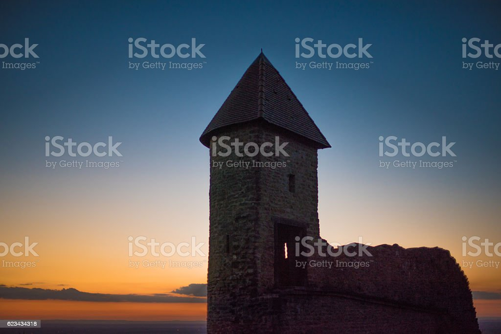 Tower of a castle in France at sunset stock photo