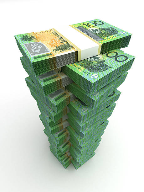 Tower of Australian Dollar stock photo