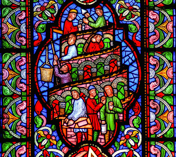 Tower of Babel stained glass window – Foto