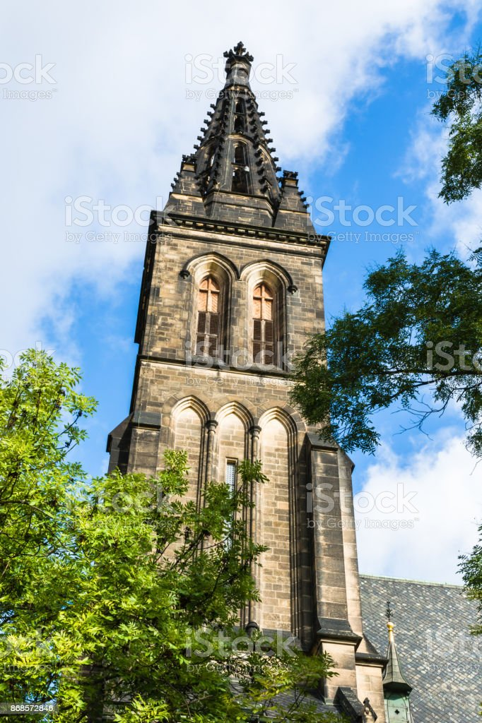 Tower of Basilica of St. Peter and St. Paul in Prague, Czech Republic stock photo