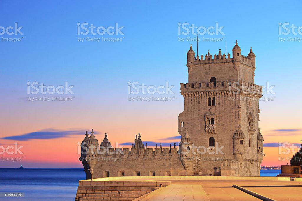 Tower of Belem on sunset, Lisbon, Portugal royalty-free stock photo