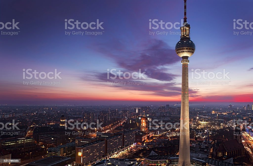 TV tower of Berlin at Alexanderplatz stock photo