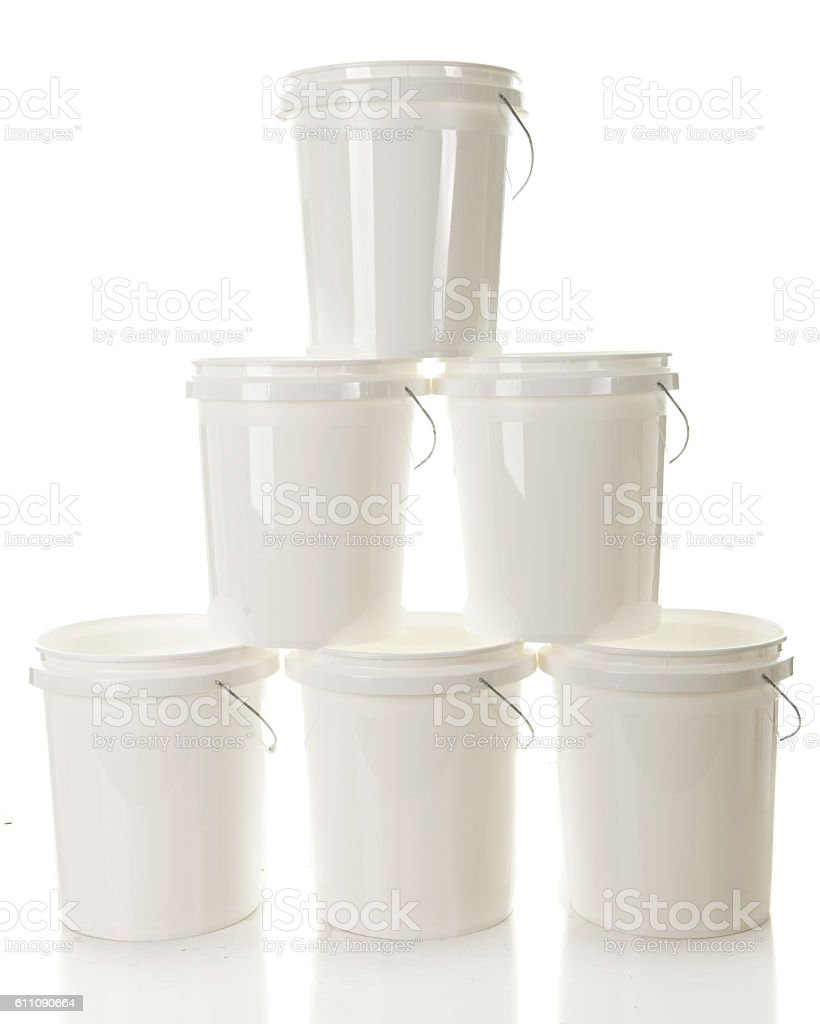 Tower of buckets stock photo