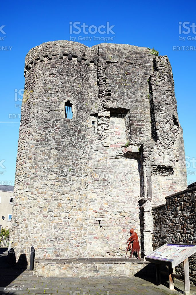 Tower of Carmarthen Castle stock photo