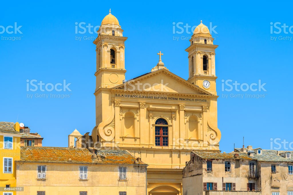 A tower of cathedral building in Bastia port, Corsica island, France stock photo