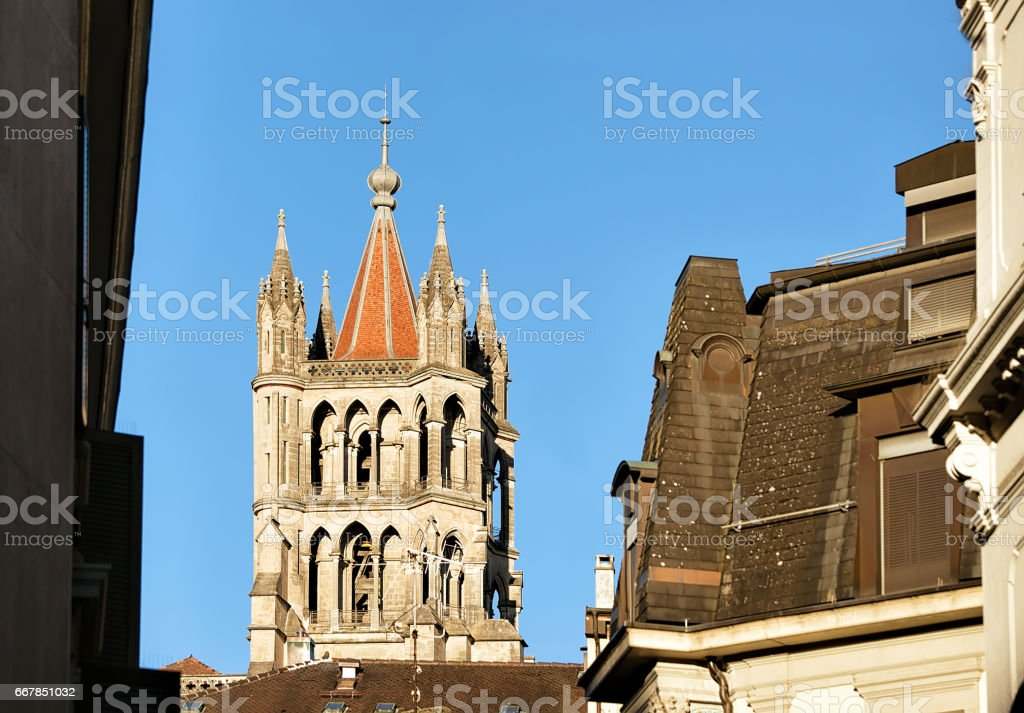 Tower of Cathedral of Notre Dame in Lausanne Switzerland stock photo