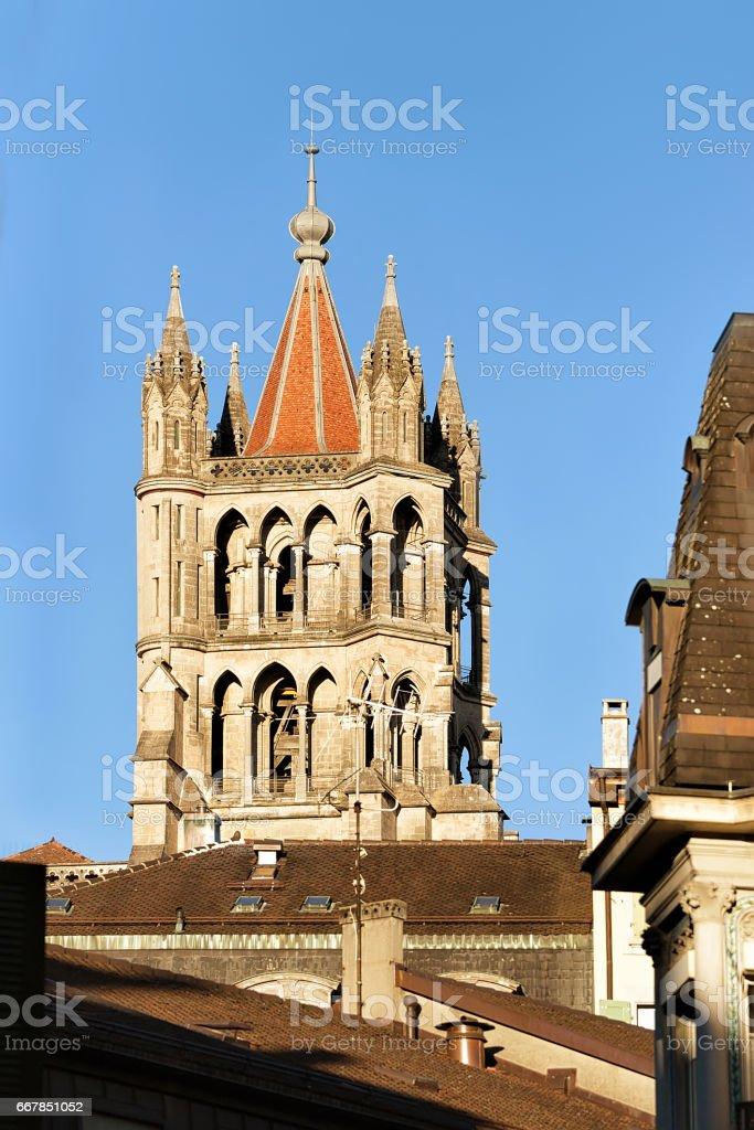 Tower of Cathedral of Notre Dame Lausanne stock photo