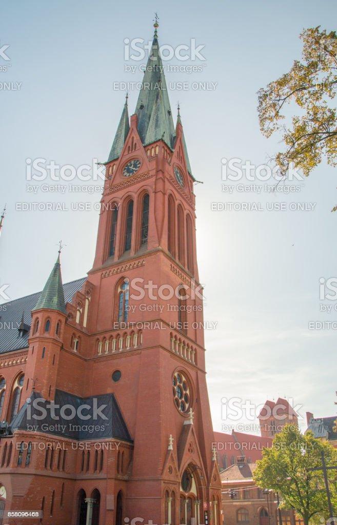 Tower of catolic military church of Saints Catherine. stock photo