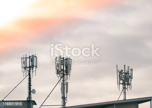 1145453438istockphoto LTE, GSM, 2G, 3G, 4G, 5G tower of cellular communication on the roof. 1163011910