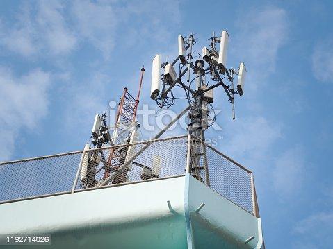 1145453438istockphoto LTE, GSM, 2G, 3G, 4G, 5G tower of cellular communication. 1192714026