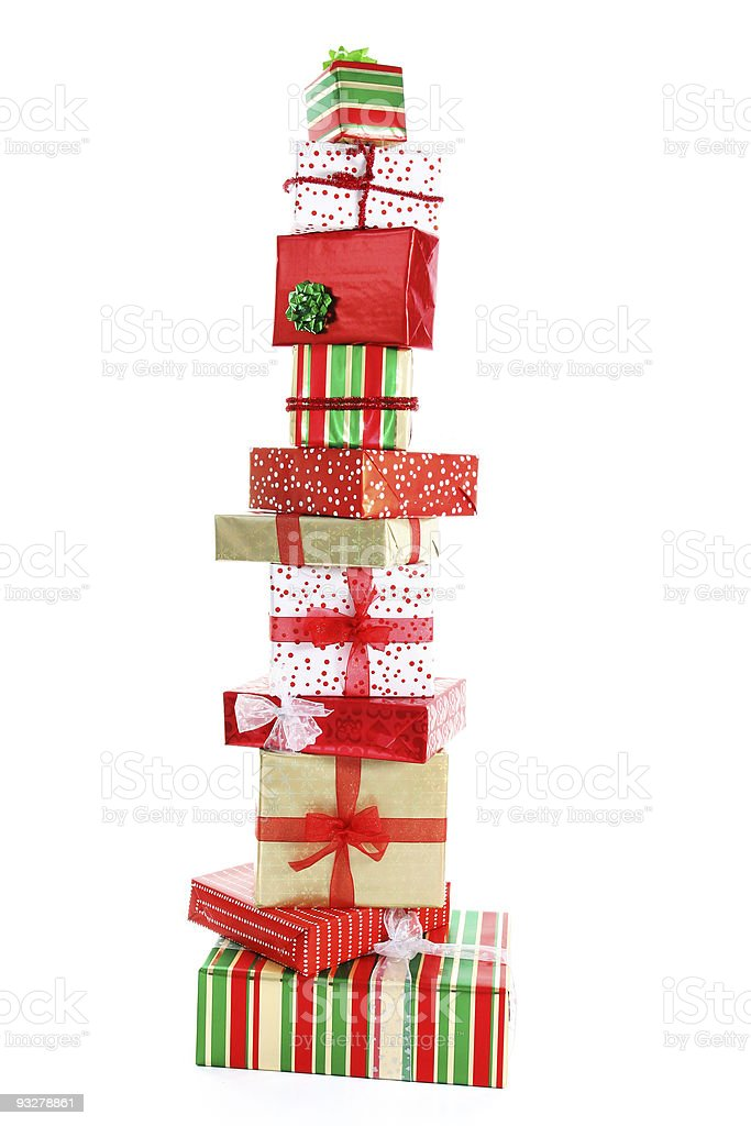Tower of Christmas gifts stock photo