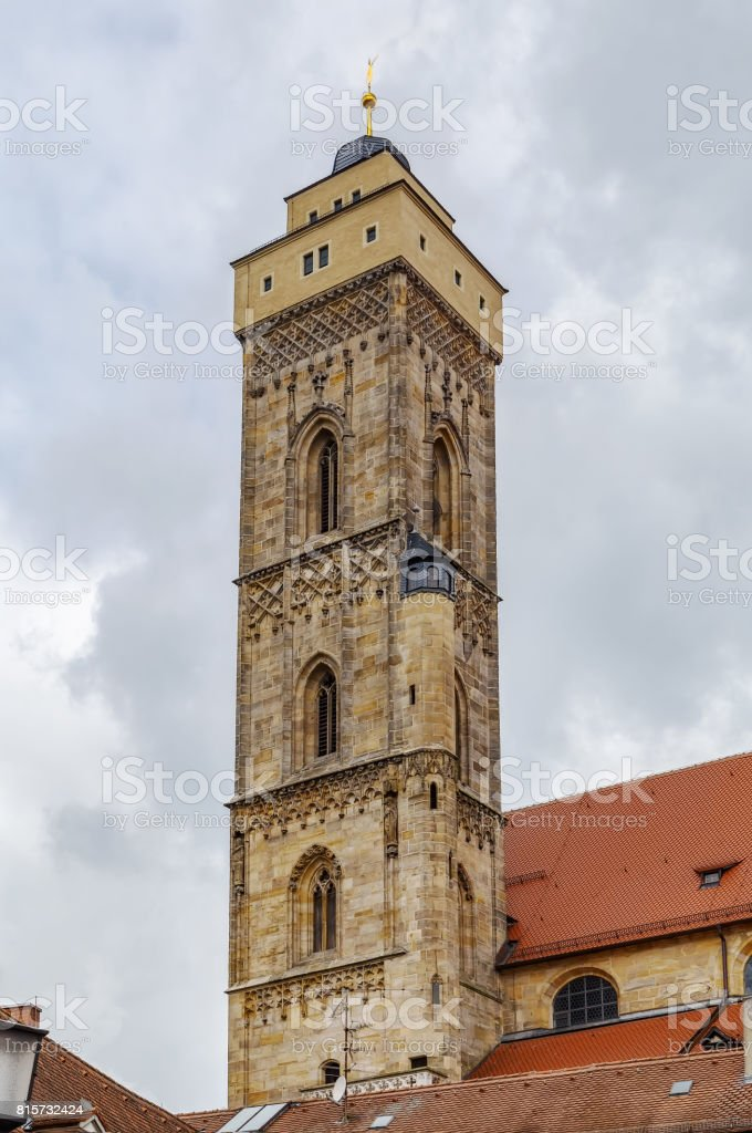 Tower of church of Our Lady, Bamberg, Germany stock photo