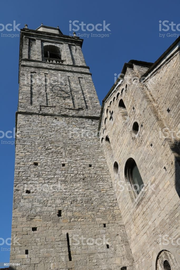 Tower of Church San Giacomo in Bellagio at Lake Como, Lombardy Italy stock photo
