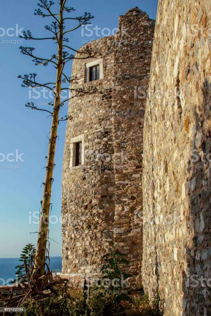 Tower of Crispi at Naxos Island stock photo