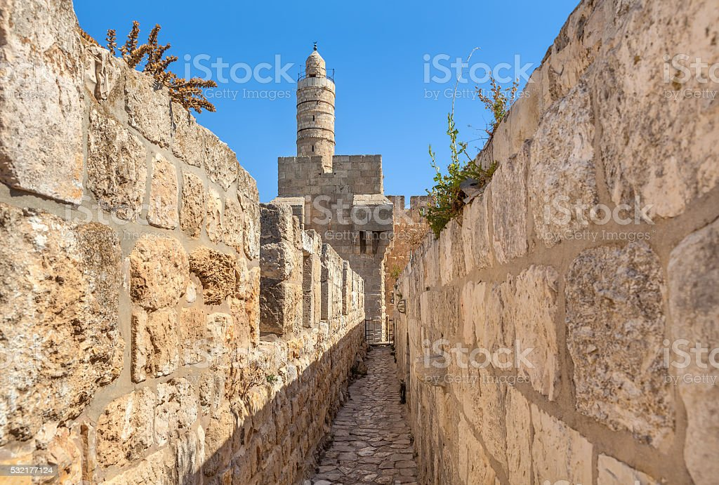 Tower of David and ancient walls in Jerusalem. stock photo