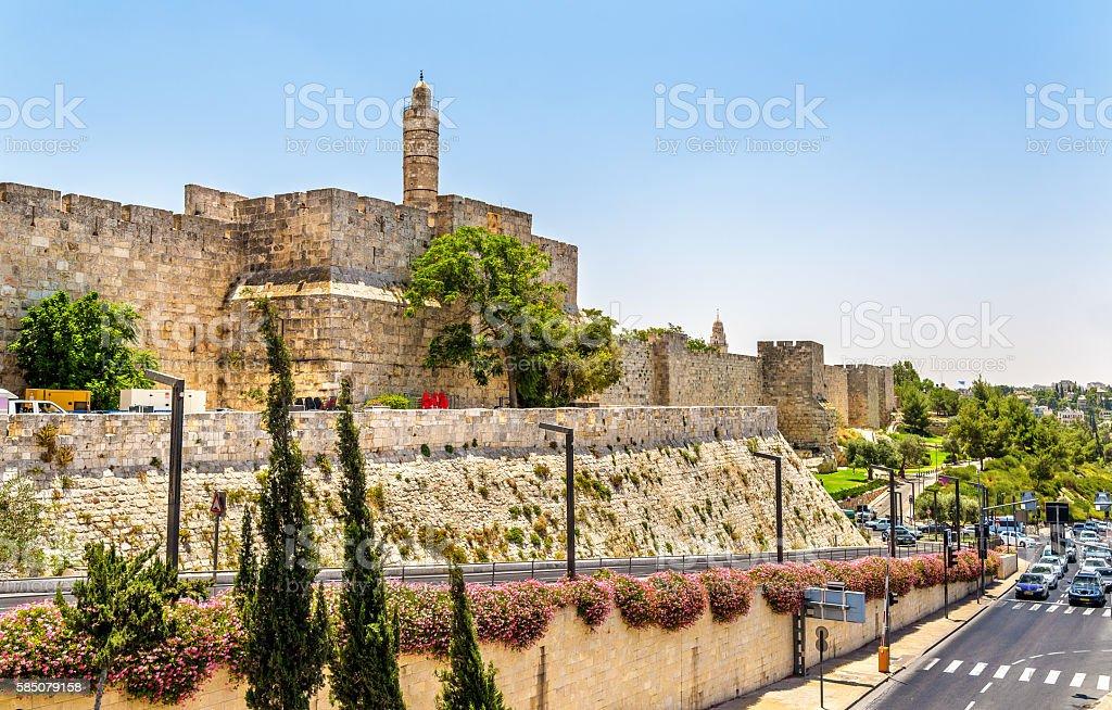 Tower of David and City walls - Jerusalem stock photo