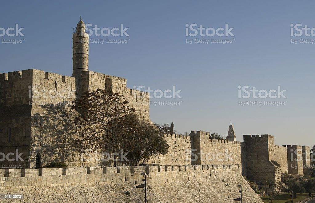 Tower Of David and old city walls royalty-free stock photo