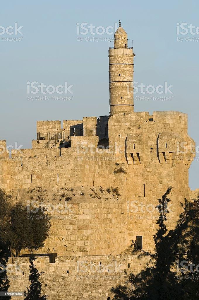Tower of david at sunset royalty-free stock photo