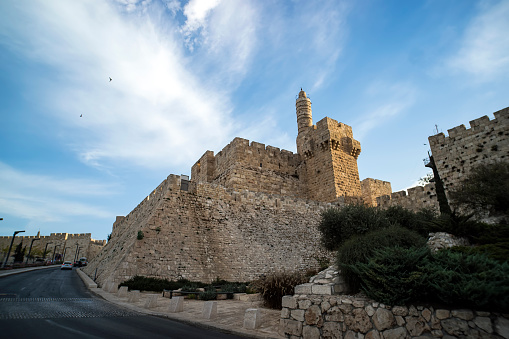 Tower of David or Jerusalem Citadel. Jerusalem, Israel. Courtyard, behind a high stone wall. Sightseeing in the Old town of Irusalim