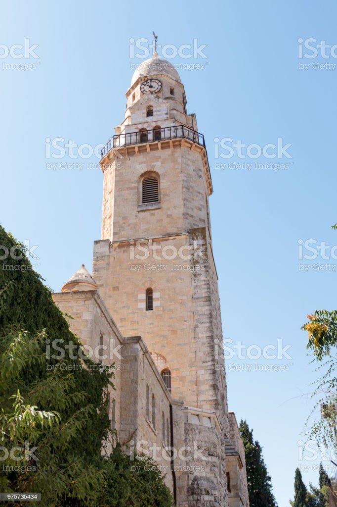 Torre de David sobre la tumba del rey David en la Abadía de la Dormición en la vieja ciudad de Jerusalén, Israel - foto de stock