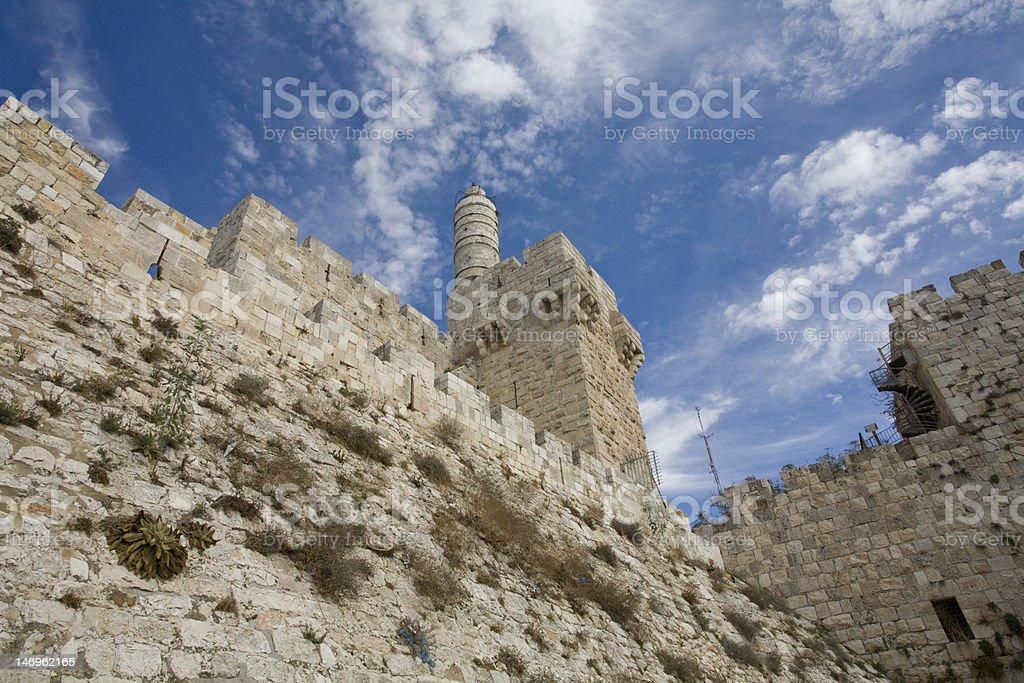 Tower of David, The Old City, Jerusalem, low angle stock photo