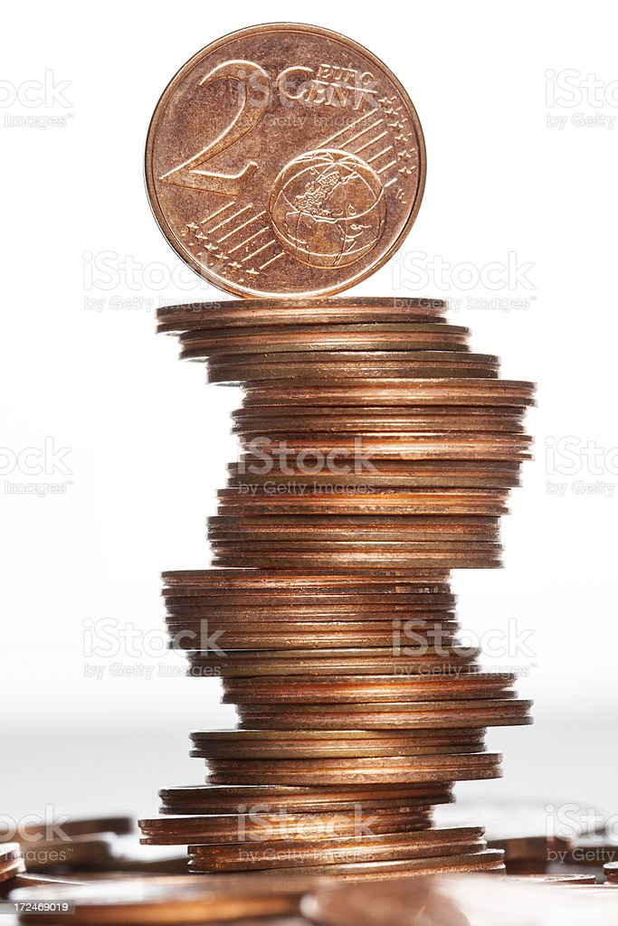 Tower of Euro Cents royalty-free stock photo