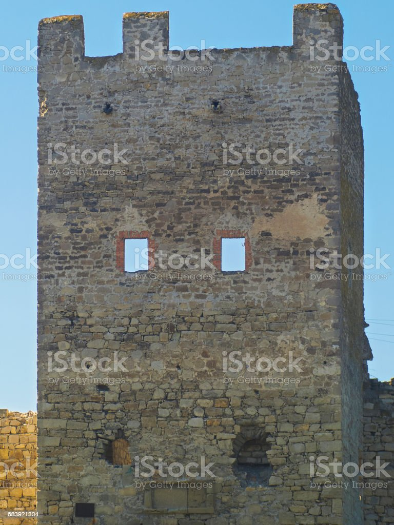 Tower of Genoese fortress in Feodosia, Crimea stock photo