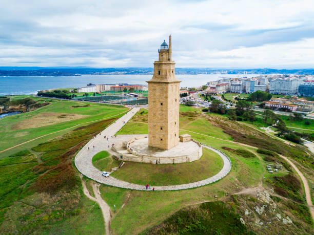 Tower of Hercules Torre in A Coruna Tower of Hercules or Torre de Hercules is an ancient Roman lighthouse in A Coruna in Galicia, Spain galicia stock pictures, royalty-free photos & images