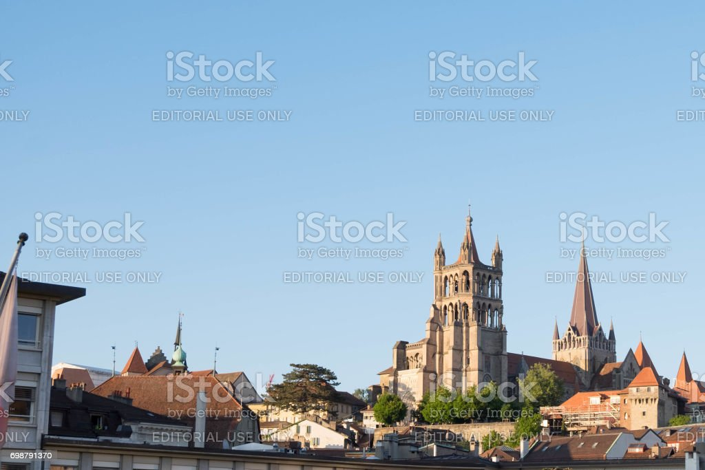 Tower of Lausanne Cathedral, 12th-century Gothic church. stock photo
