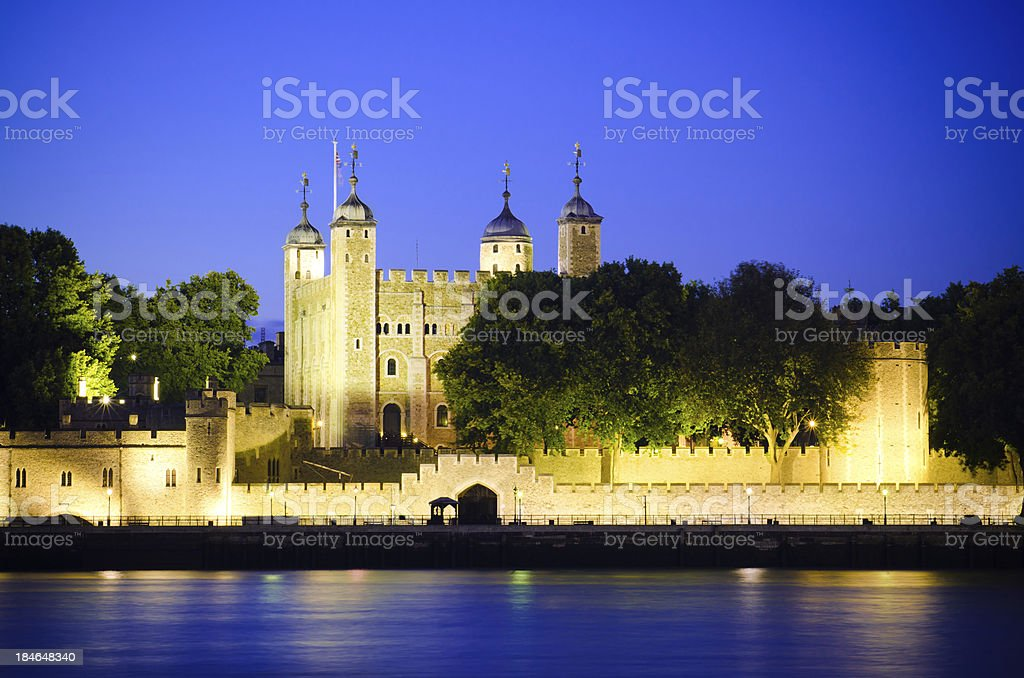 Tower of London along River Thames in England stock photo