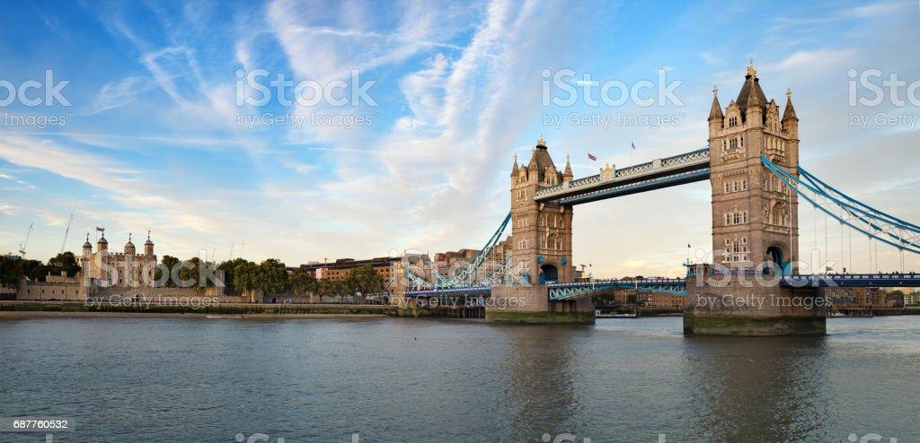 Tower of London and Tower Bridge Panorama stock photo