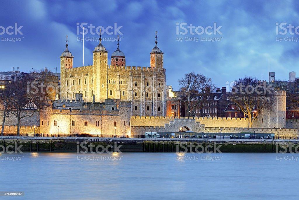 Tower of London at night, UK stock photo