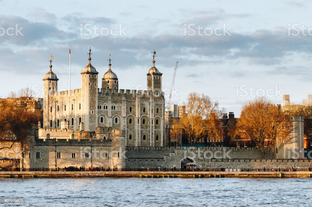 Tower of London at sunset, England, Famous Place, International Landmark stock photo