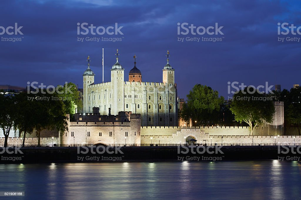 Tower of London, castle at night stock photo