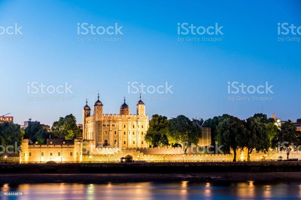 tower of london dusk light england stock photo