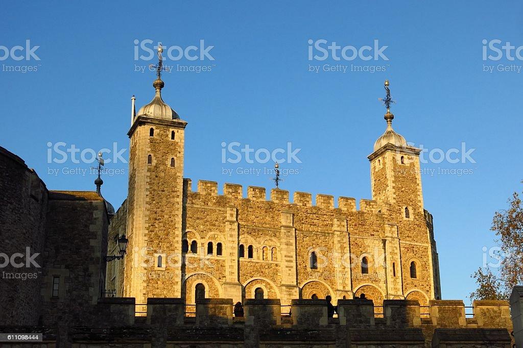 Tower of London White Tower golden sunlight stock photo