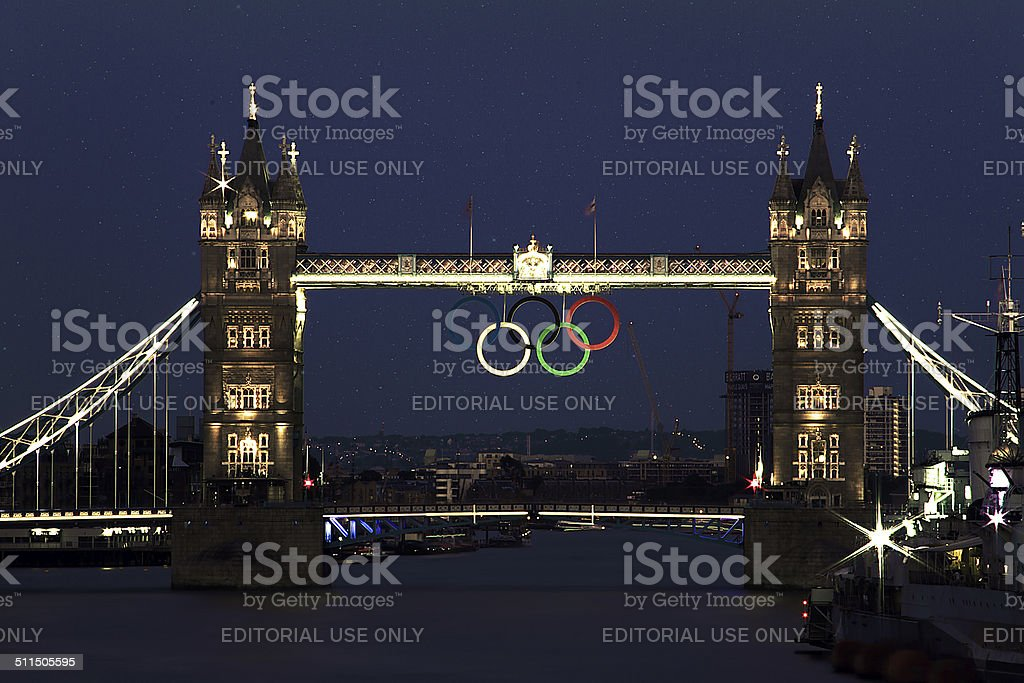 Tower of London with Olimpic Rings stock photo
