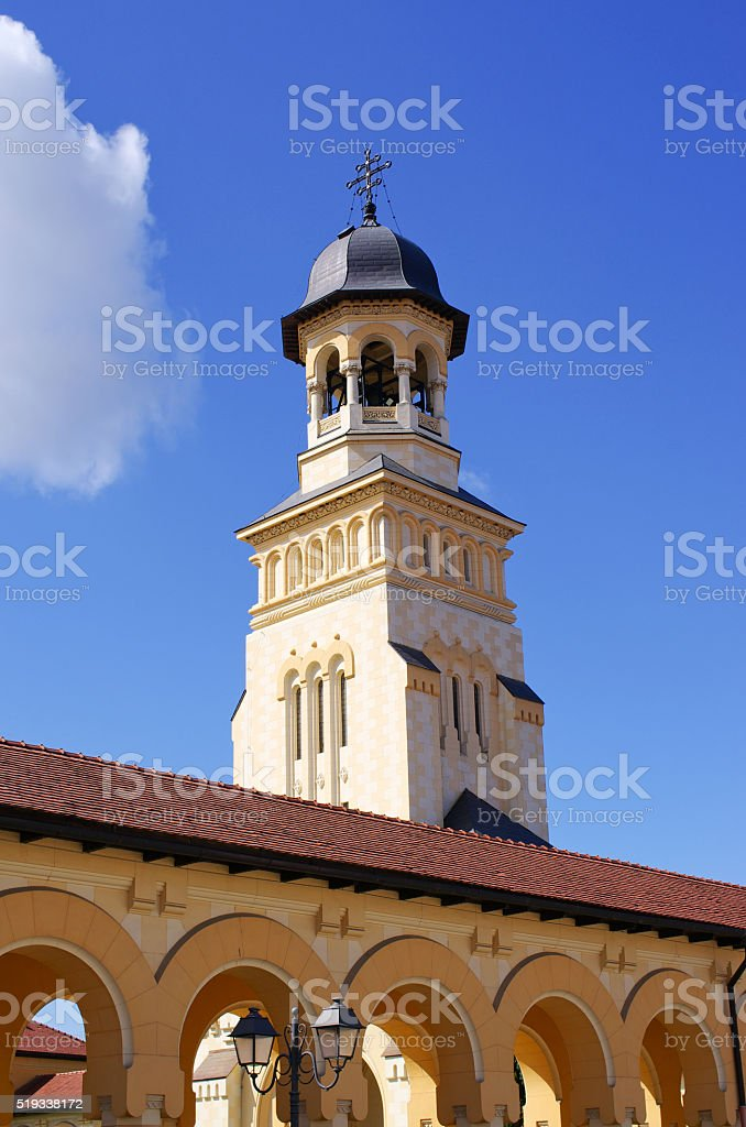Tower of orthodox cathedral in Alba Iulia, Romania stock photo